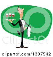 Clipart Of A Cartoon Male Waiter Serving Red Wine Over Green Royalty Free Vector Illustration by Vector Tradition SM