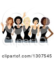 Clipart Of A Group Of Happy Beautiful Women Wearing Black Shirts And Celebrating International Womens Day Royalty Free Vector Illustration