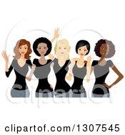Group Of Happy Beautiful Women Wearing Black Shirts And Celebrating International Womens Day