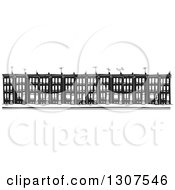 Clipart Of Black And White Woodcut Baltimore Ghetto Row House Town Homes Royalty Free Vector Illustration by xunantunich