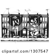 Clipart Of Black And White Woodcut People Boxed In Baltimore Ghetto Row House Town Homes Royalty Free Vector Illustration by xunantunich