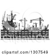Clipart Of Black And White Industrial Equipment Over Woodcut Baltimore Ghetto Row House Town Homes Royalty Free Vector Illustration by xunantunich