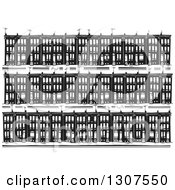 Clipart Of A Black And White Woodcut Neighborhood Of Baltimore Ghetto Row House Town Homes Royalty Free Vector Illustration by xunantunich