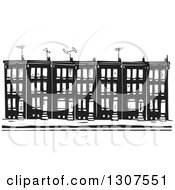 Clipart Of Black And White Woodcut Baltimore Ghetto Row House Town Home Royalty Free Vector Illustration by xunantunich #COLLC1307551-0119
