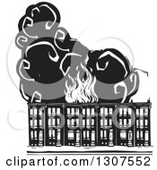 Clipart Of Black And White Burning Woodcut Baltimore Ghetto Row House Town Homes Royalty Free Vector Illustration