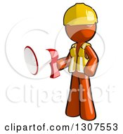Clipart Of A Contractor Orange Man Worker Holding A Bullhorn Megaphone Royalty Free Illustration