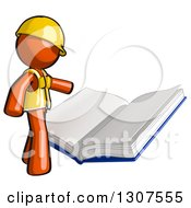 Clipart Of A Contractor Orange Man Worker Reading A Big Book Royalty Free Illustration