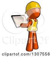 Clipart Of A Contractor Orange Man Worker Using A Tablet Computer Royalty Free Illustration