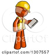 Clipart Of A Contractor Orange Man Worker Looking At A Smart Cell Phone Royalty Free Illustration