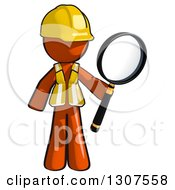 Clipart Of A Contractor Orange Man Worker Holding A Magnifying Glass Royalty Free Illustration