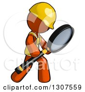Clipart Of A Contractor Orange Man Worker Searching Or Inspecting With A Magnifying Glass Royalty Free Illustration
