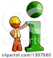 Clipart Of A Contractor Orange Man Worker By A Green I Information Icon Royalty Free Illustration