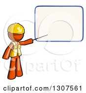 Clipart Of A Contractor Orange Man Worker Presenting A Blank Board In A Seminar Royalty Free Illustration