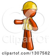Clipart Of A Contractor Orange Man Worker Presenting To The Left Royalty Free Illustration