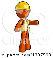 Clipart Of A Contractor Orange Man Worker Presenting To The Right Royalty Free Illustration