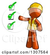 Clipart Of A Contractor Orange Man Worker Presenting A Completed Check List Royalty Free Illustration