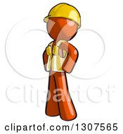 Clipart Of A Contractor Orange Man Worker Facing Left With Hands On His Hips Royalty Free Illustration