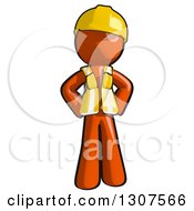 Clipart Of A Contractor Orange Man Worker With Hands On His Hips Royalty Free Illustration