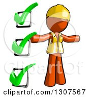 Clipart Of A Contractor Orange Man Worker With A Completed Check List Royalty Free Illustration
