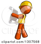 Clipart Of A Contractor Orange Man Worker Facing Left And Reviewing A Schematic Royalty Free Illustration