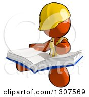 Clipart Of A Contractor Orange Man Worker Sitting And Reading A Big Book Royalty Free Illustration