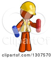 Clipart Of A Contractor Orange Man Worker Holding Red And Blue Pills Royalty Free Illustration by Leo Blanchette