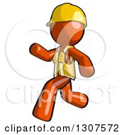 Clipart Of A Contractor Orange Man Worker Running To The Left Royalty Free Illustration