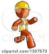 Clipart Of A Contractor Orange Man Worker Running To The Right Royalty Free Illustration
