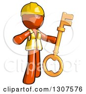 Clipart Of A Contractor Orange Man Worker Presenting And Holding A Skeleton Key Royalty Free Illustration