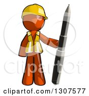 Clipart Of A Contractor Orange Man Worker Standing With A Giant Pen Royalty Free Illustration