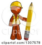 Clipart Of A Contractor Orange Man Worker Standing With A Giant Pencil Royalty Free Illustration
