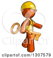 Clipart Of A Contractor Orange Man Worker Walking With A Skeleton Key Royalty Free Illustration