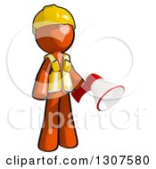 Clipart Of A Contractor Orange Man Worker Holding A Megaphone Royalty Free Illustration