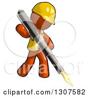 Clipart Of A Contractor Orange Man Worker Writing With A Giant Fountain Pen Royalty Free Illustration