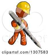Clipart Of A Contractor Orange Man Worker Writing With A Giant Pen Royalty Free Illustration
