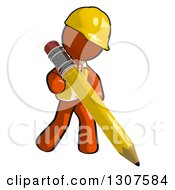 Clipart Of A Contractor Orange Man Worker Writing With A Giant Pencil Royalty Free Illustration