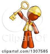 Clipart Of A Contractor Orange Man Worker Holding Up A Success Skeleton Key Royalty Free Illustration