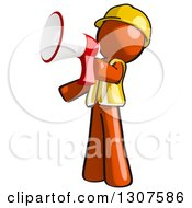 Clipart Of A Contractor Orange Man Worker Facing Left And Announcing With A Megaphone Royalty Free Illustration