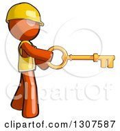 Clipart Of A Contractor Orange Man Worker Using A Skeleton Key Royalty Free Illustration