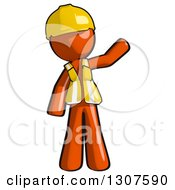 Clipart Of A Contractor Orange Man Worker Waving Royalty Free Illustration
