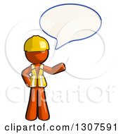 Clipart Of A Contractor Orange Man Worker Presenting And Talking Royalty Free Illustration