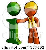 Clipart Of A Contractor Orange Man Worker Leaning Against A Green I Information Icon Royalty Free Illustration