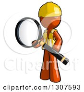 Clipart Of A Contractor Orange Man Worker Holding A Giant Magnifying Glass Royalty Free Illustration
