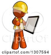 Clipart Of A Contractor Orange Man Worker Holding And Looking At A Tablet Computer Royalty Free Illustration
