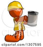 Contractor Orange Man Worker Kneeling And Begging With A Can