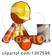 Clipart Of A Contractor Orange Man Worker Beggar Pouting By A Can Royalty Free Illustration