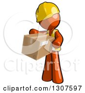 Clipart Of A Contractor Orange Man Worker Inspecting A Box Royalty Free Illustration