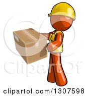 Clipart Of A Contractor Orange Man Worker Holding A Box Royalty Free Illustration