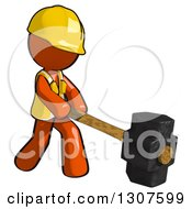 Clipart Of A Contractor Orange Man Worker Using A Sledge Hammer Royalty Free Illustration