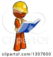 Clipart Of A Contractor Orange Man Worker Reading A Book Royalty Free Illustration
